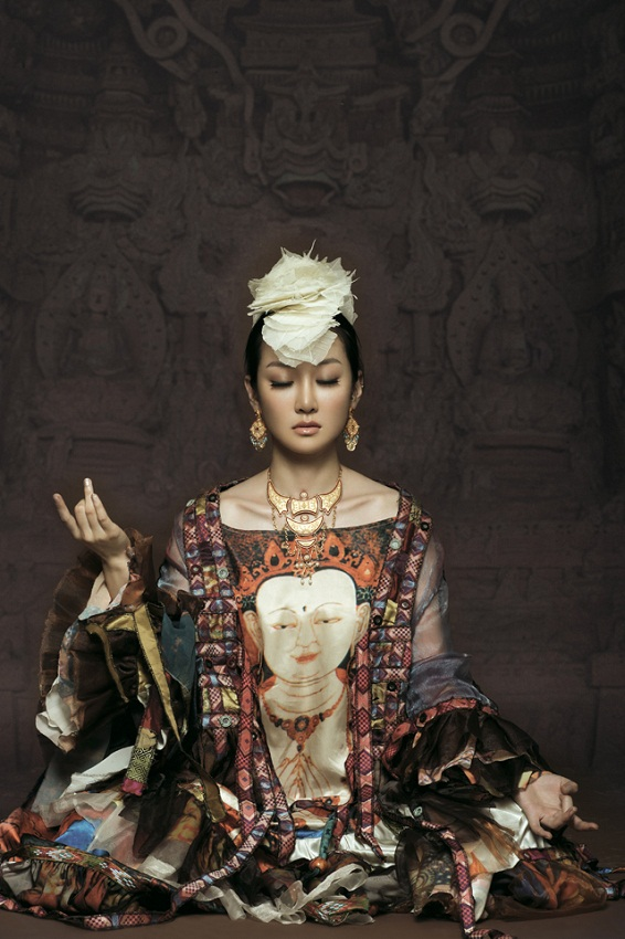 Chinese Mongolian woman Sa Dingding in Meditation photo