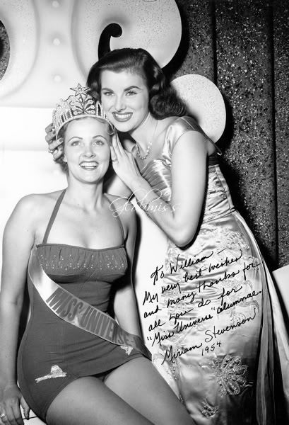 Miriam Stevenson (Miss Universe 1954) and Christiane Martel (Miss Universe 1953)