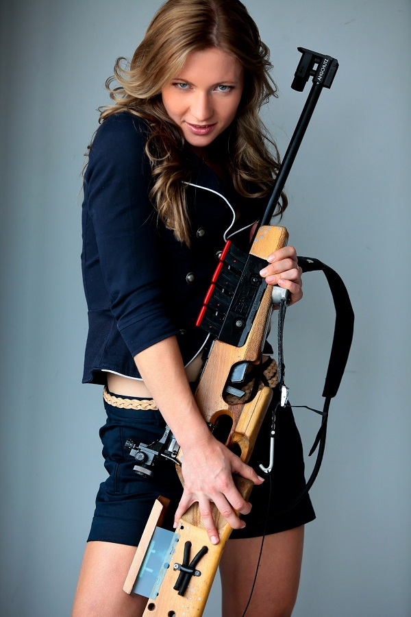 Darya Domracheva with the rifle image